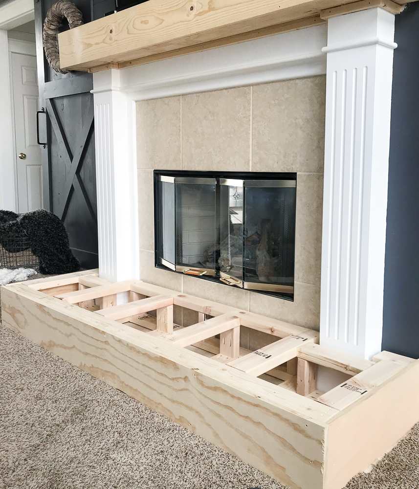 hearth being built