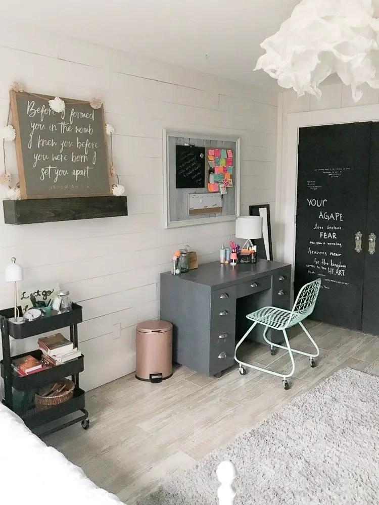 floating shelves styled with farmhouse decor