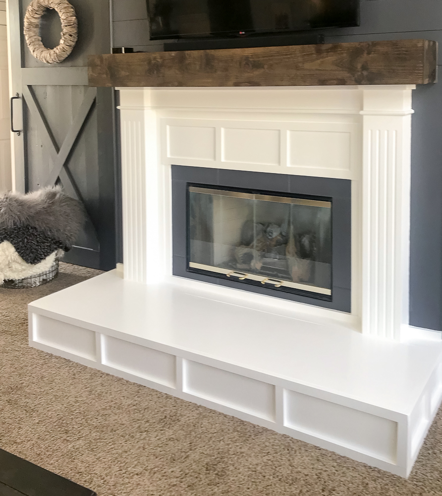 fireplace painted white and gray