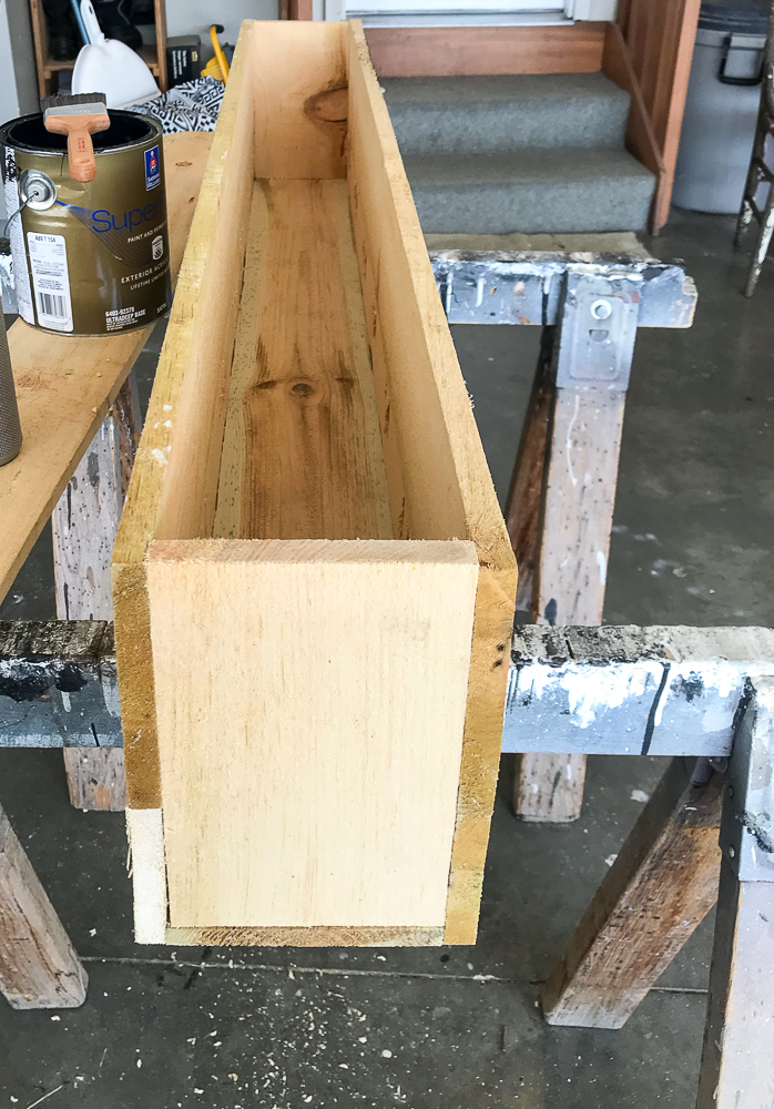 front, back and sides of flower box built with cedar