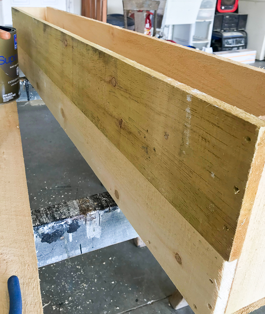 side of box being built