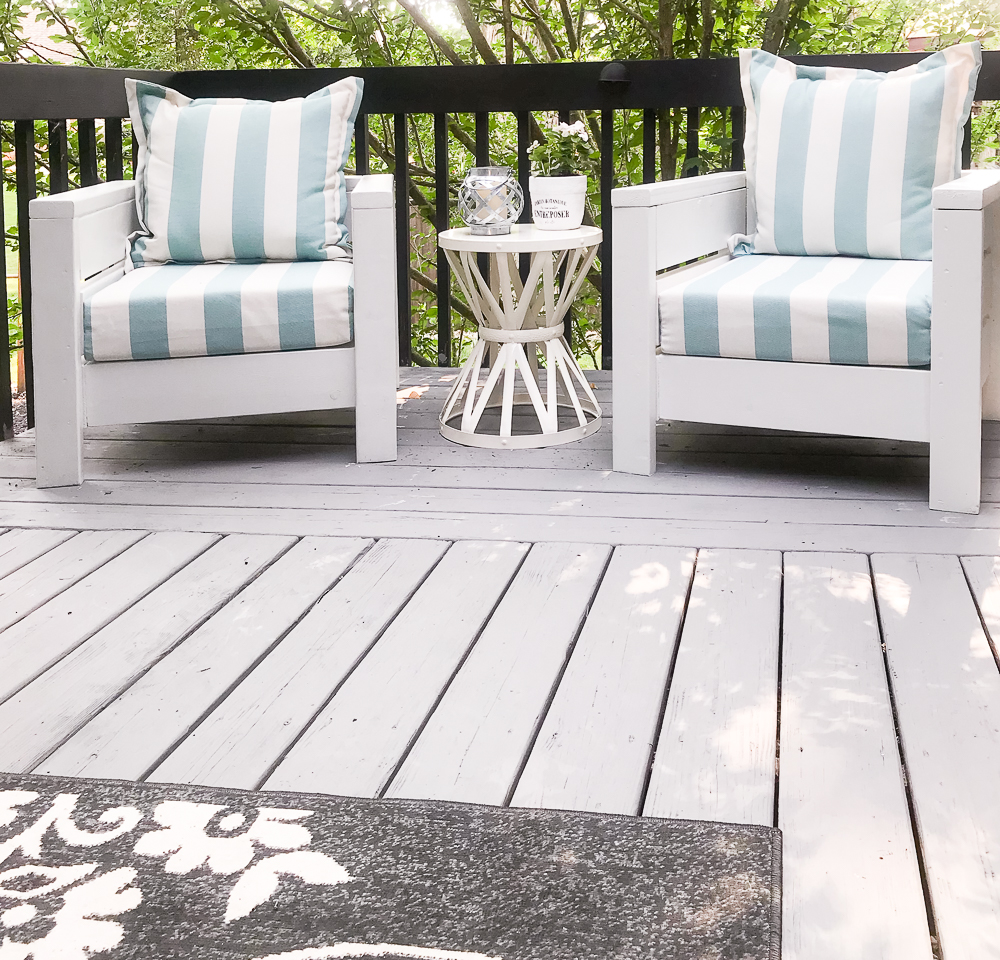 modern chairs on a front porch add curb appeal