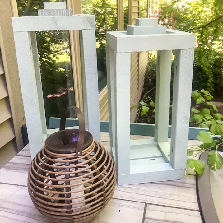 two lanterns easy to build holiday gift ideas on an outdoor kitchen counter
