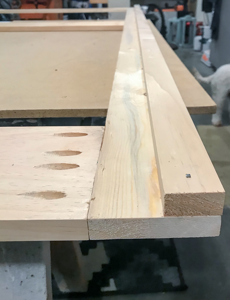1x2 attached to 1x4 for sliding barn door build