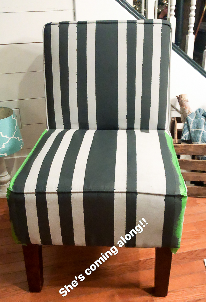 black and white chalk paint stripes used on upholstery