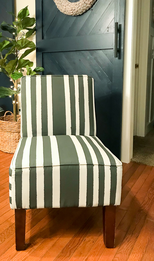 fabric chair with gray chalk paint and black stripes