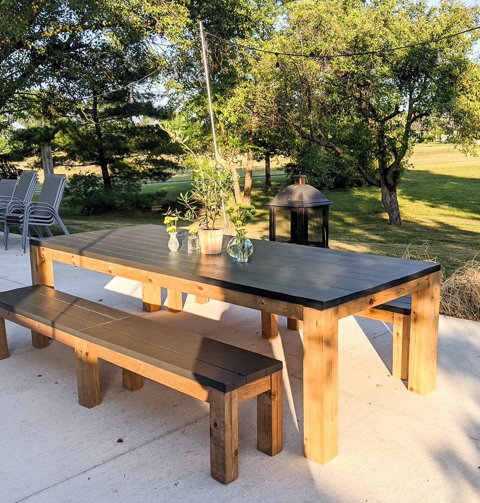 outdoor farmhouse table with bench building projects