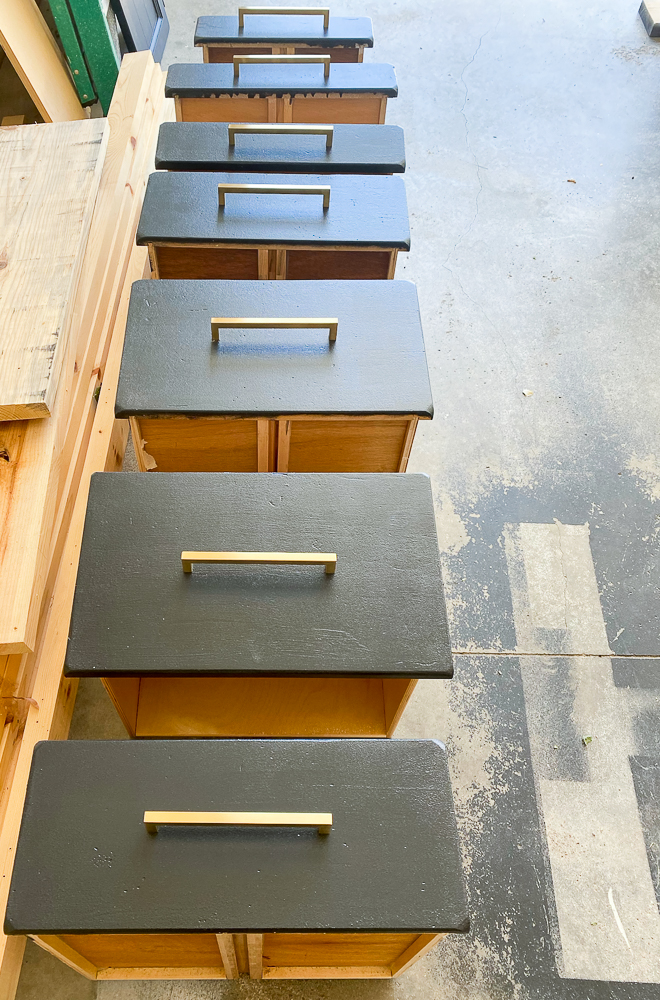 Drawers with gold cabinet hardware handles