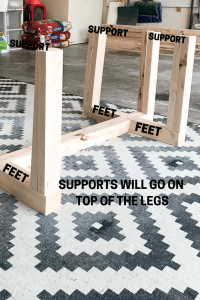 Diagram of supports and feet