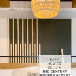 Create an accent wall that is affordable and easy. This Mid Century Modern (MCM) feature wall treatment tutorial will show you how! Easily update a bedroom, family room, hallway and the list goes on with this form of board and batten. Such an easy and fun DIY!