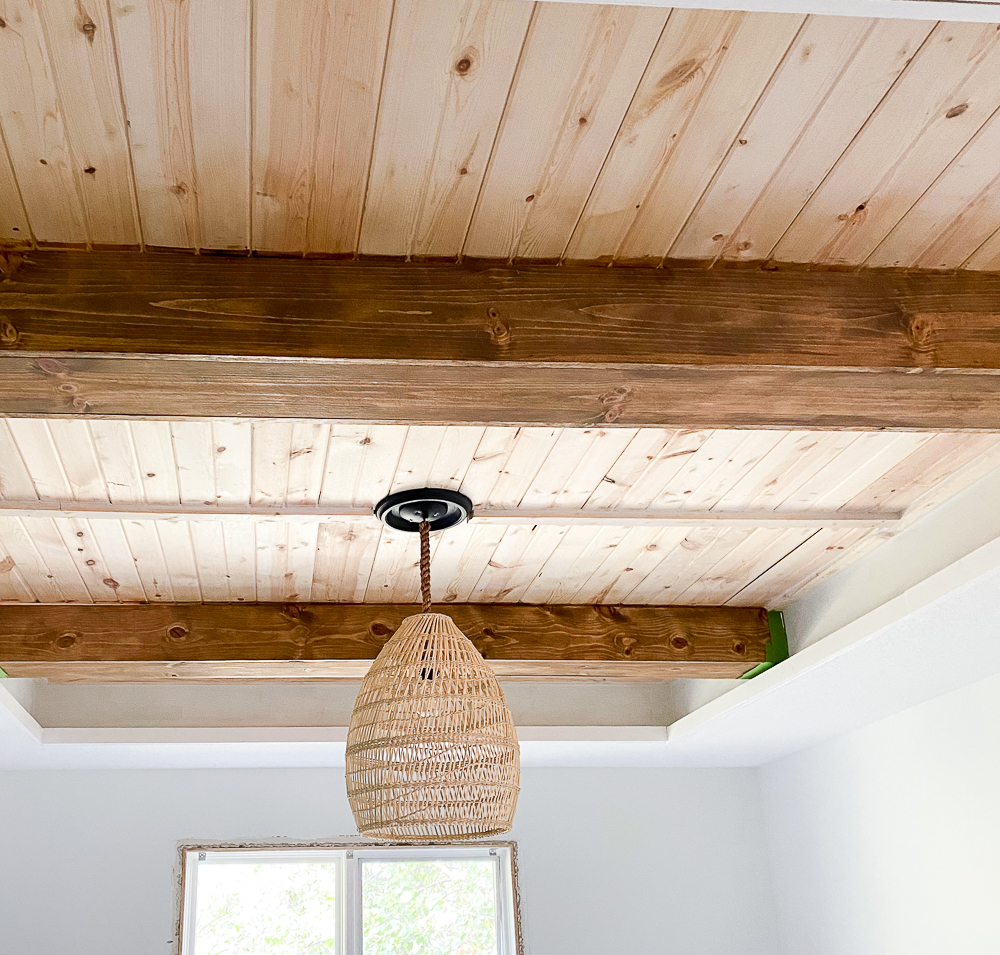 Carsiding tray ceiling with faux beams