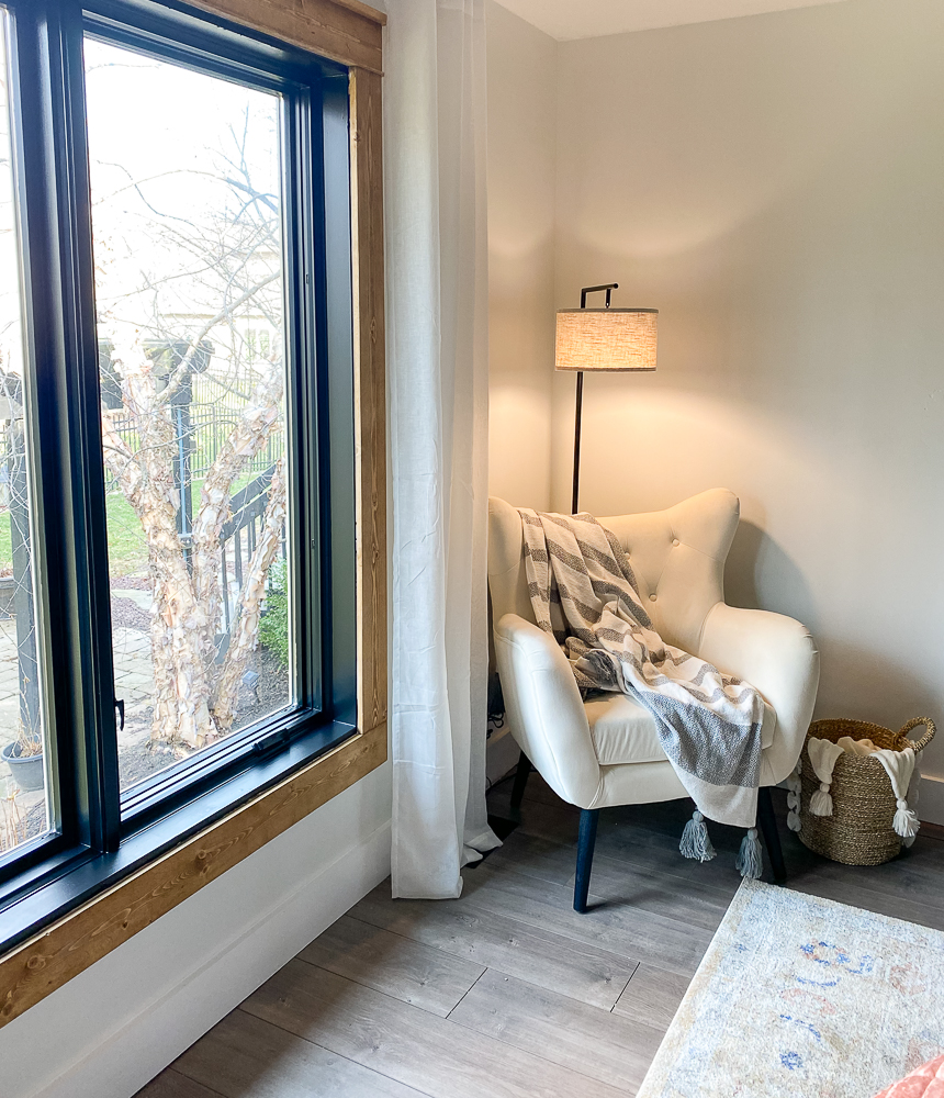 Cozy corner with wing chair and light