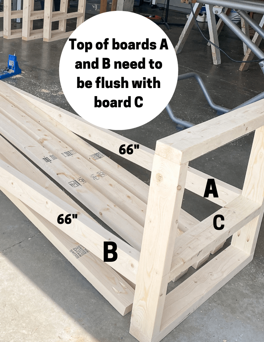 Diagram of placement for boards for the outdoor sofa build