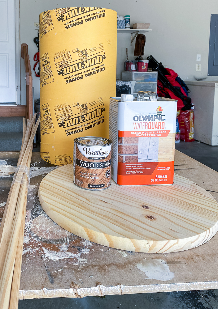 Materials needed for a fluted side table: stain, sonotube, round tabletop, moulding
