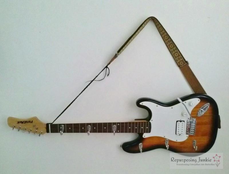 Repurposed Electric Guitar into Coat Garment Hat Rack Holder (11)