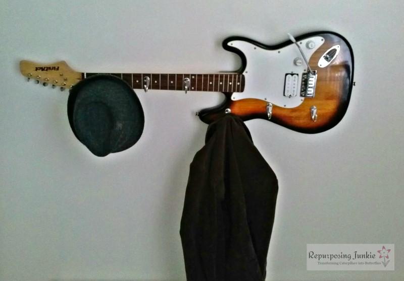 Repurposed Electric Guitar into Coat Garment Hat Rack Holder (8)