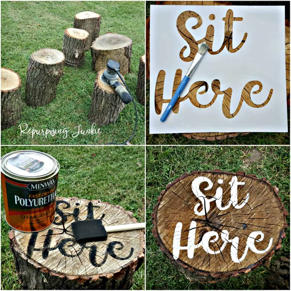 Make Campfire Log Seats Fun with this Awesome Idea!! Sanding, Stenciling and Sealing Tree Stumps for Campfire Seats