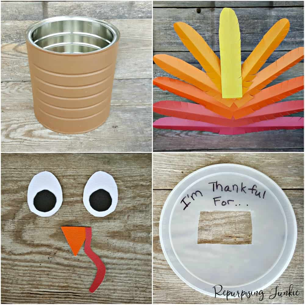 Repurposed Coffee Can into Thanksgiving Turkey Blessings Holder