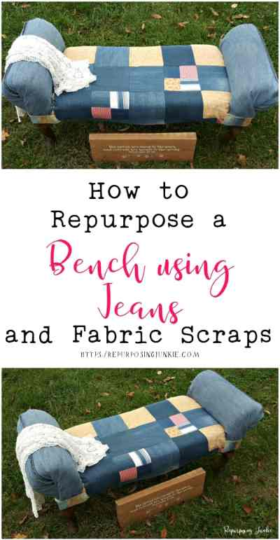 How to Repurpose a Bench Using Jeans and Fabric Scraps