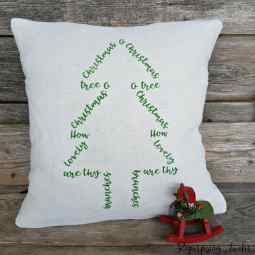 Stenciled Christmas Pillow and Reclaimed Wood Sign-Int'l Bloggers Club
