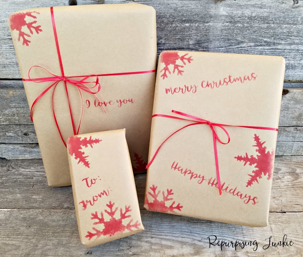 How to Stencil Gift Wrap for Christmas