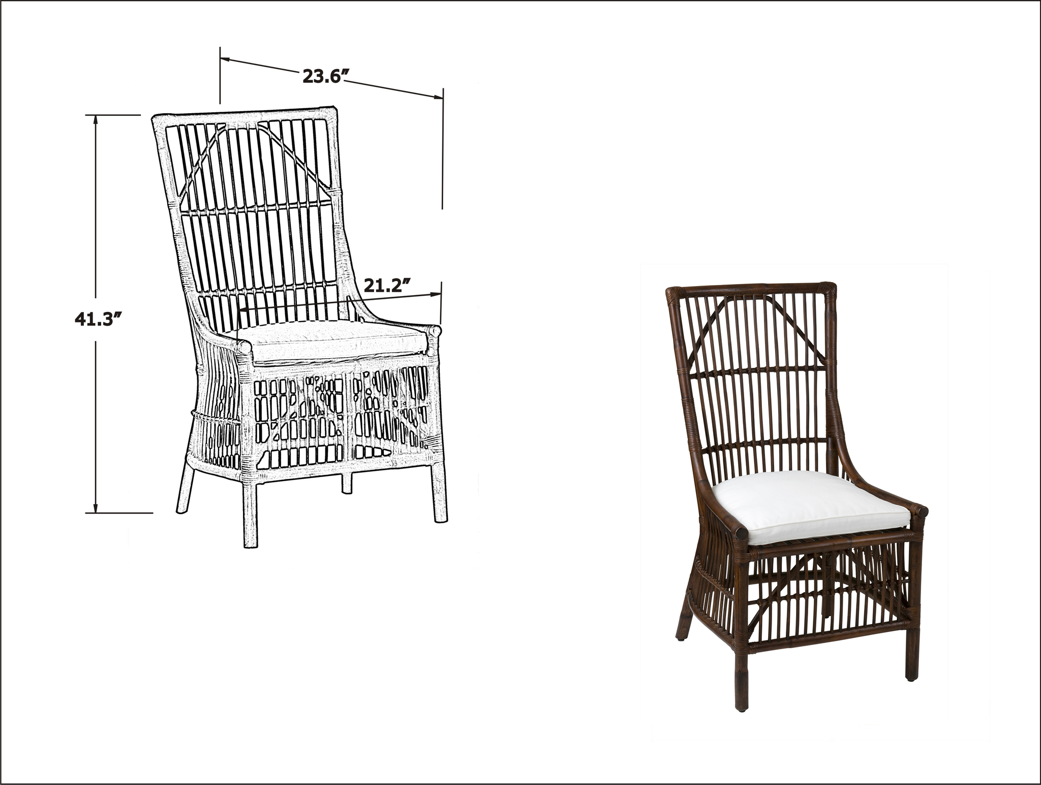 winston rattan dining side chairs set