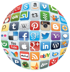 globe with social media icons