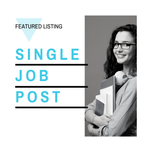 Image for single job post + featured pricing page. Post jobs for students, entry level job board. Student internships, Co-op jobs. Graduate jobs.