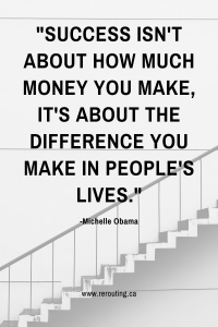 3 Secrets to Help You Discover Your Career Path and Find Your Life's Purpose Blog Michelle Obama Quote Pinterest Graphic
