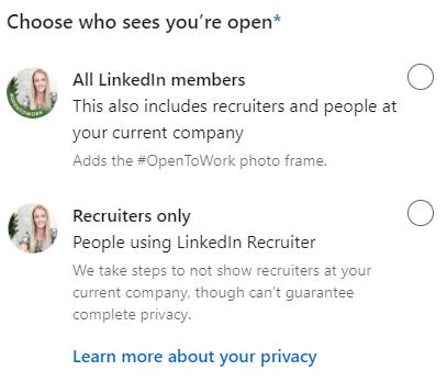 LinkedIn #opentowork