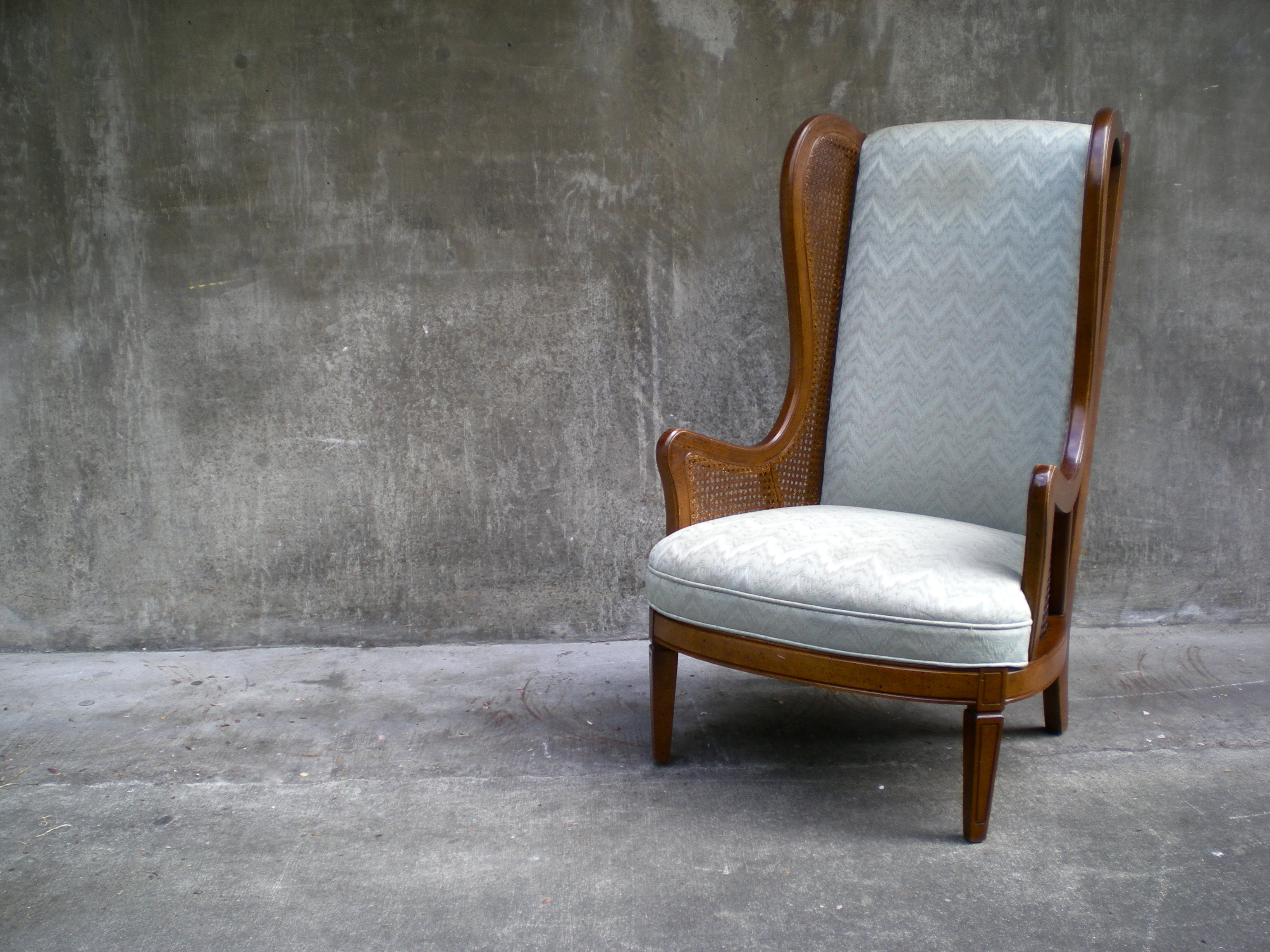 striped wingback chair tufted leather lounge sold vintage cane in aqua chevron stripe