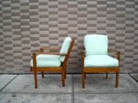 Sold! pair of mid-century modern wood frame lounge chairs ...