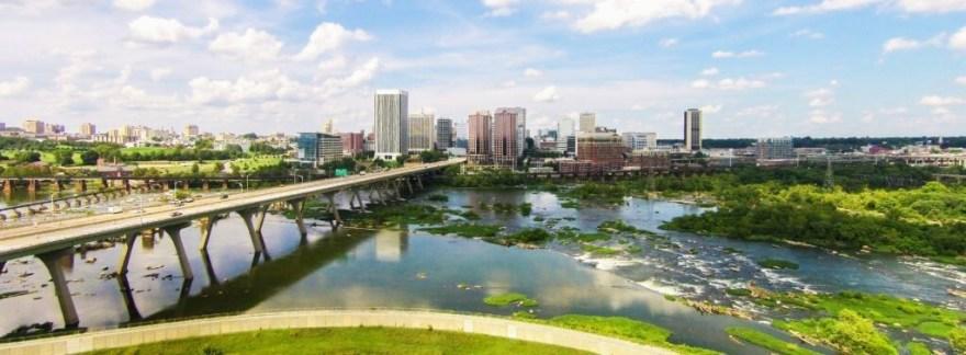 Aerial Downtown Richmond James River SKyline re|RVA