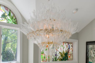 Murano blown-glass chandelier comprised of 135 hand-made pieces procured from Macy's Herald Square showroom in New York City