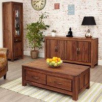 Mayan Walnut Low Four Drawer Coffee Table - Wooden ...