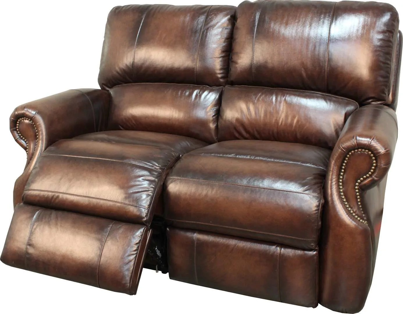 parker leather sofa reviews sleeper bed shield living hawthorne brown dual power reclining