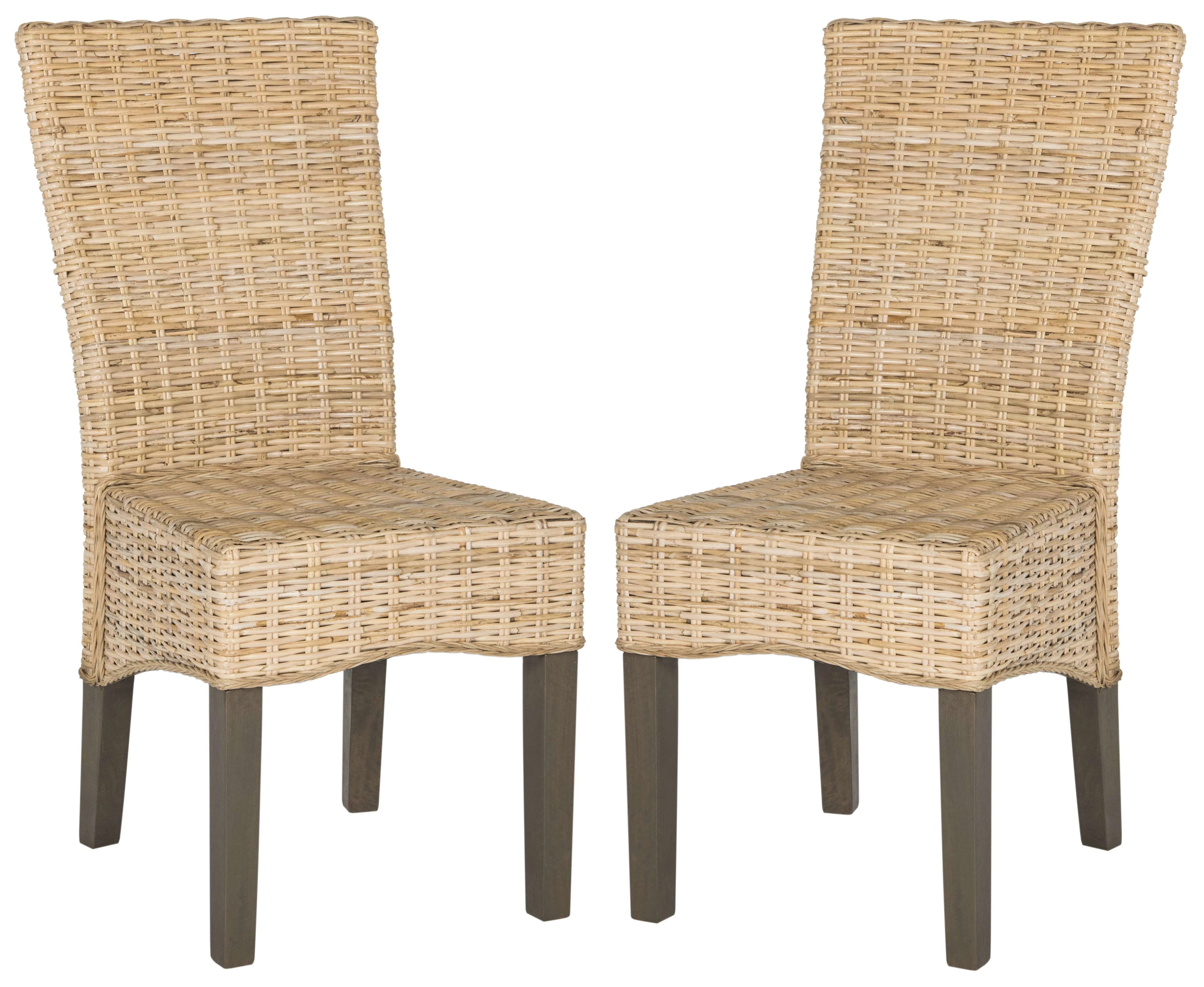Outdoor Wicker Dining Chairs Safavieh Sea8014c Set2