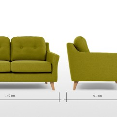 Length Of 2 Seater Sofa Best Fabric For Toddlers Rufus Leaf Green Made