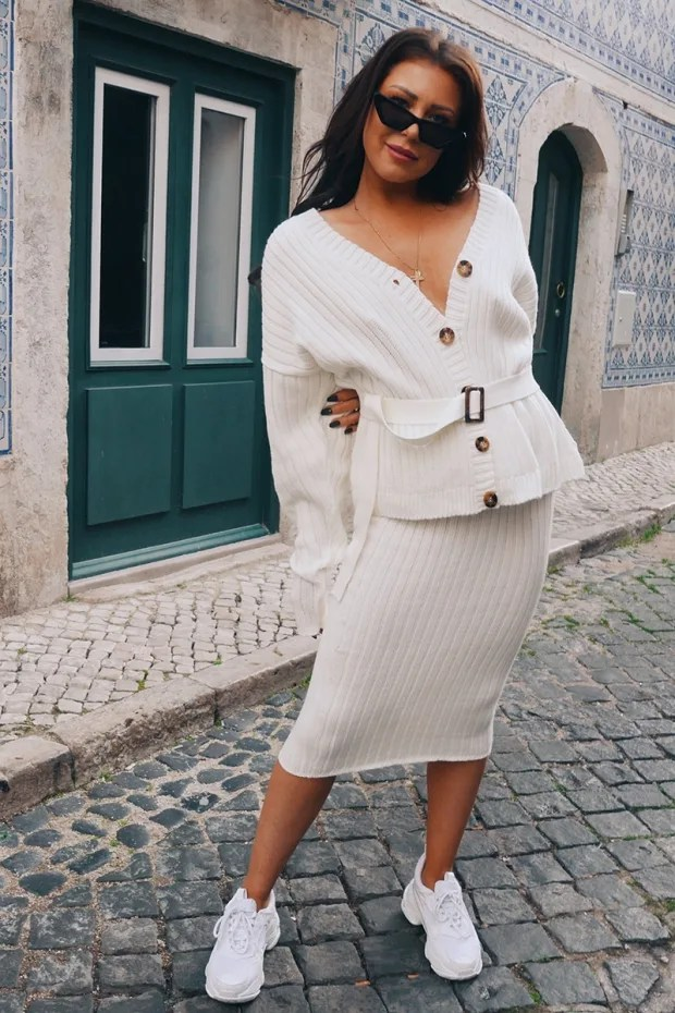 Ribbed Belted Cream Cardigan