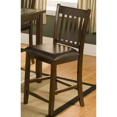 leather pub chair dining slipcovers diy alpine capitola espresso with faux cushion set of 2