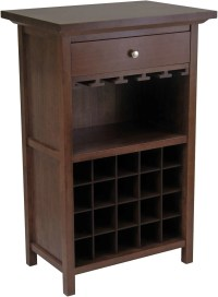 Winsome Wood Antique Walnut Wine Cabinet with Drawer and