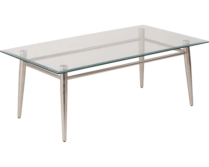 office star brooklyn clear tempered glass top coffee table with nickel brushed legs mg1242s nb goedekers com