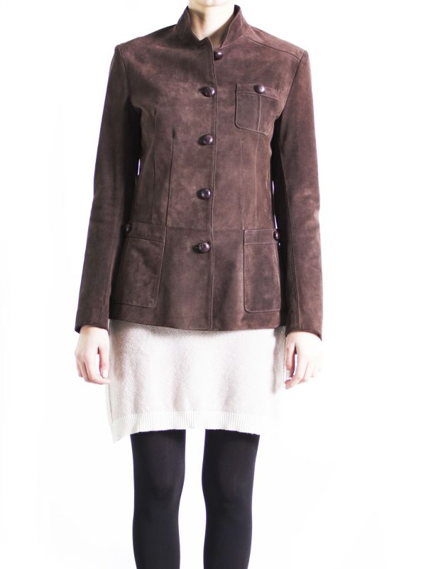 Altalana - Leather Collection Brown Suede Military Jacket
