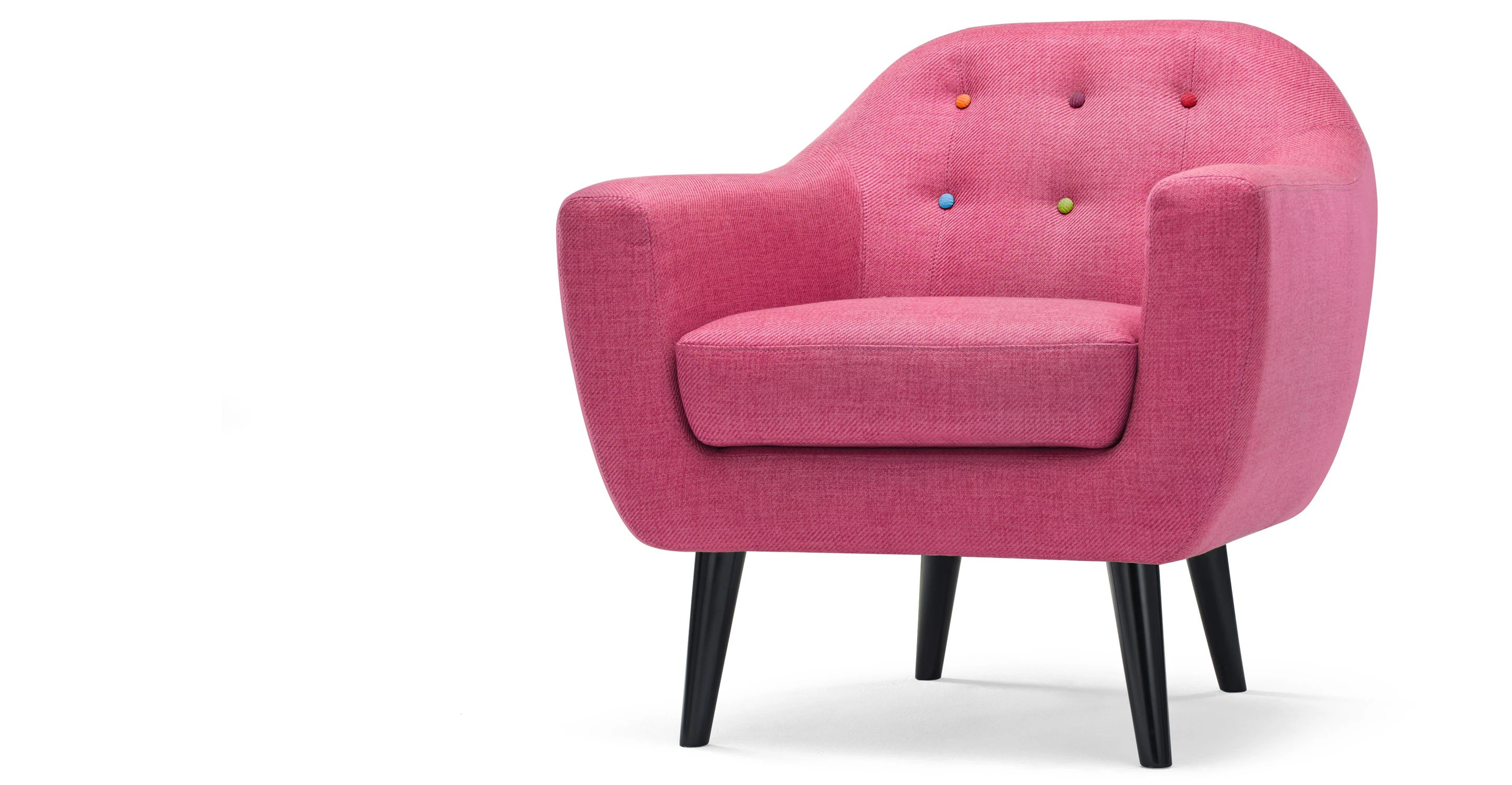 pink arm chair lazy boy desk ritchie armchair in candy with rainbow buttons made
