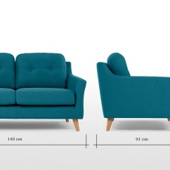 2 Seater Sofa Bed Size Broyhill Leather And Fabric Rufus Rich Azure Made
