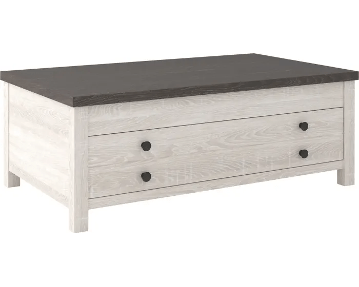 signature design by ashley dorrinson two tone rectangular coffee table with lift top t287 9 goedekers com