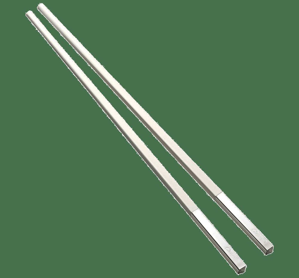 paire de baguettes chinoises blanches en bois et metal argente