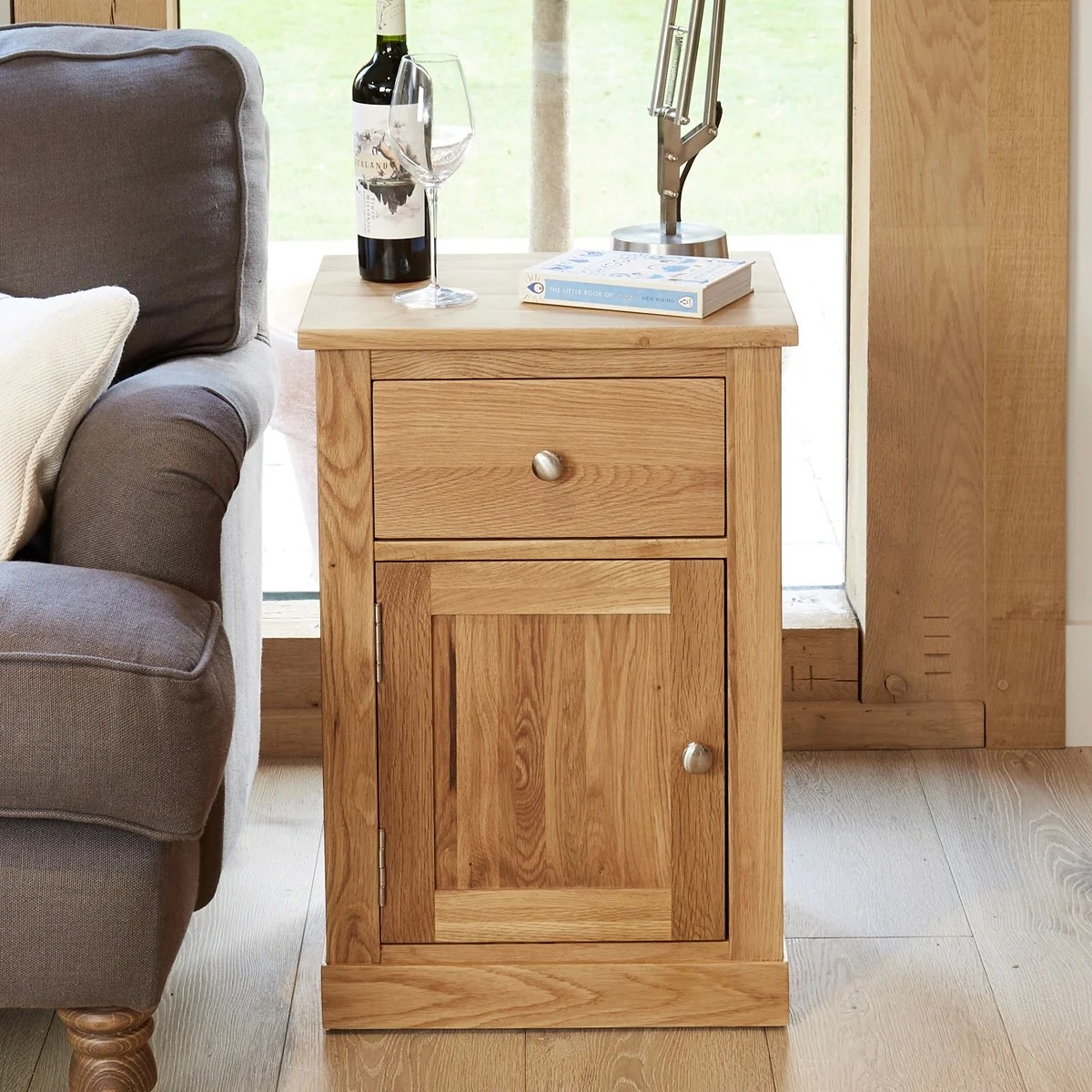 mobel oak single door and drawer lamp table was 21500 now 17460 wooden furniture store