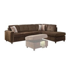 Acme Sectional Sofa Chocolate Best Manufacturers 2018 Furniture Belville Velvet 2 Piece Reversible 52700sof 52701cha With Pillows