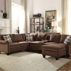 Acme Sectional Sofa Chocolate Amish Furniture Kelliava Fabric 4 Piece With Right Arm Facing Chaise